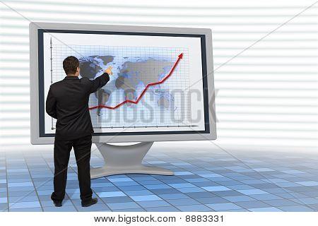 Hombre de negocios muestra crecimiento financiero