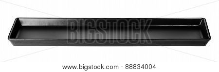 Long Black Plate Isolated On A White Background