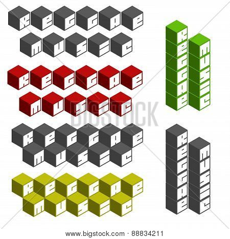 Reggae Music Cubic Square Fonts In Different Colors