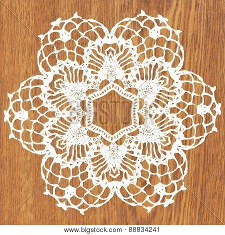 White crochet doily.
