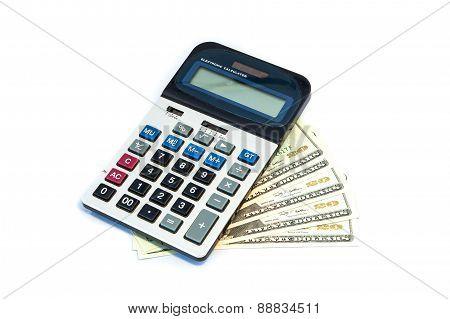 Isolated 20 Us Dollar Bills And Calculator