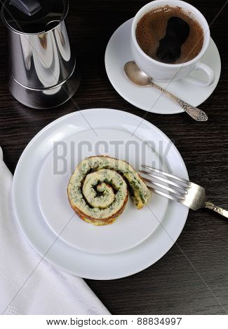 Slice Of Omelets With Herbs For Breakfast