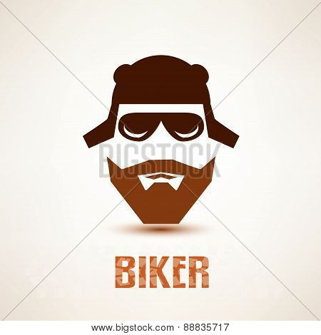 Biker Or Rocker Vector Symbol, Stylized Icon