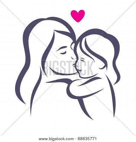Mother And Daughter Stylized Vector Silhouette, Outlined Sketch Of Mom And Child