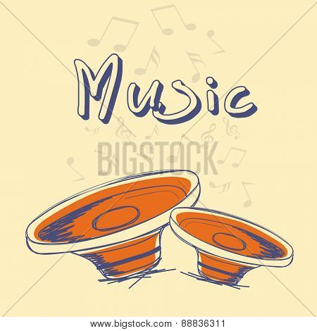 Music poster, banner or flyer design decorated with speakers and musical notes on yellow background.