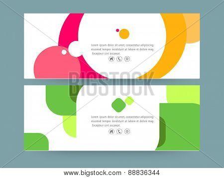 Creative colorful website header or banner set.