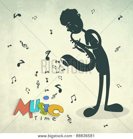 Colorful text Music Time with illustration of a boy playing saxophone on musical notes grungy background.