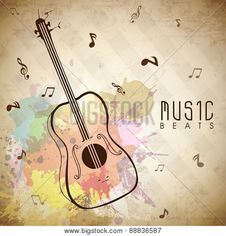 Colorful splash grungy background with musical notes and guitar.