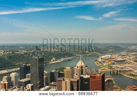 Pittsburgh, Pennsylvania - River View Skyline From The Tallest Building In The City