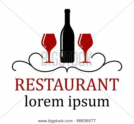 Restaurant Background With Wine Glass And Bottle