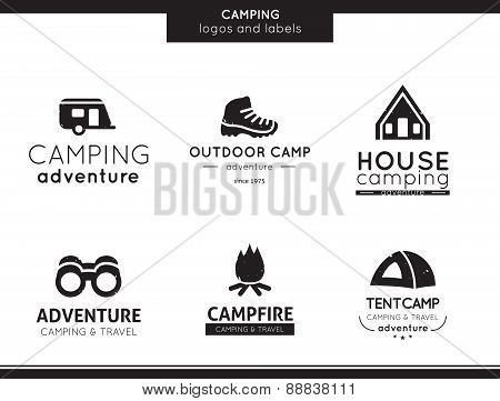 Camping and outdoor activity logo and labels collection