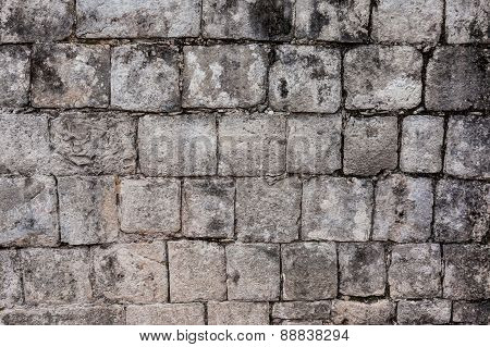 Ancient Stone Wall In Chichen Itza, Mexico