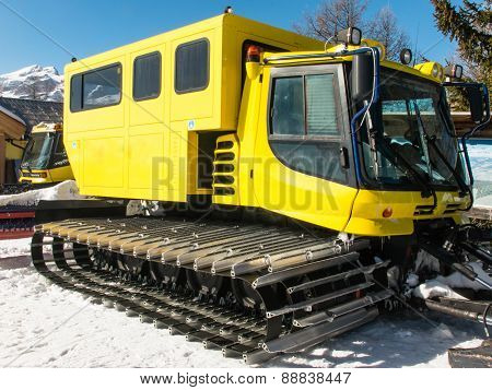 Yellow Tracked Vehicle On Snow, Grooming Machine