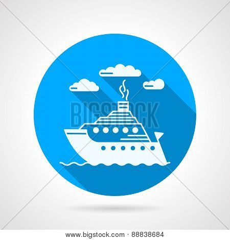 Flat round vector icon for steamboat