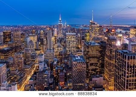 New York City Midtown Skyline At Night