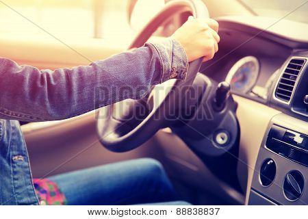 young asian woman driver driving car