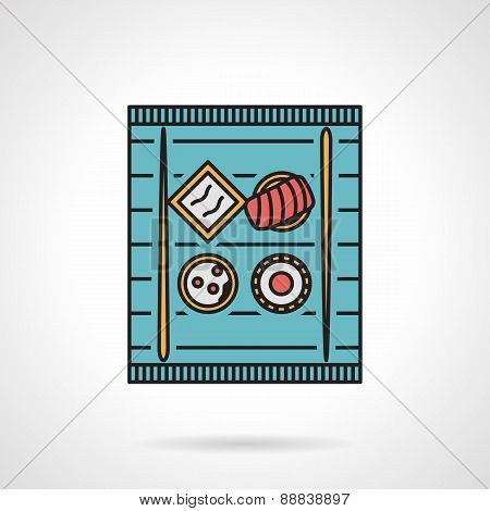 Flat color vector icon for sushi tray