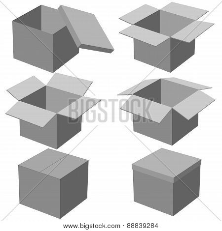 Six boxes, isolated on white background. Vector illustration.