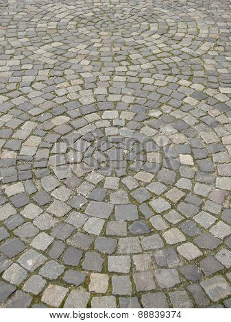 urban paving arranged in circles
