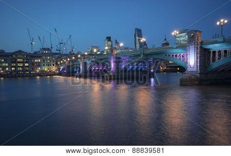 Southwark bridge in purple