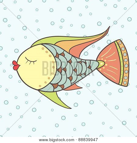 Doodle fish. Hand drawn vector illustration