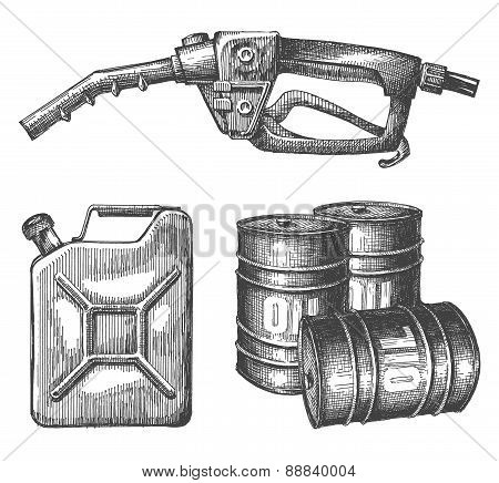 oil, gasoline on a white background