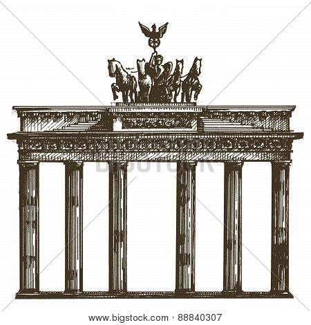 Germany, architecture on a white background. sketch