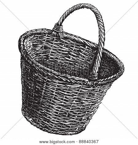 wicker basket on a white background. sketch