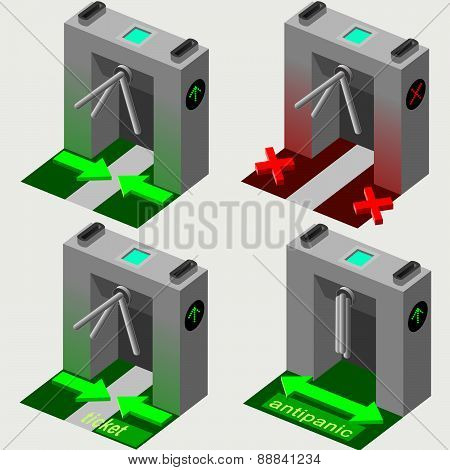 Isometric Tripod Gate Opened And Closed