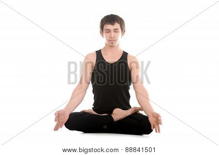 Lotus Posture With Fingers In Yogic Gesture Chin Mudra
