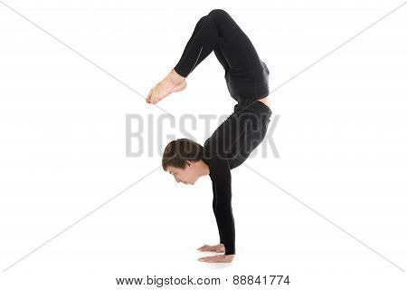 Yogi Male In Yoga Scorpion Pose Vrischikasana 2