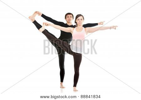 Extended Hand-to-big-toe Yoga Pose With Partner