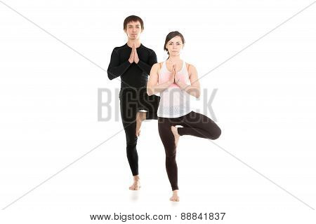 Yoga Tree Pose With Partner