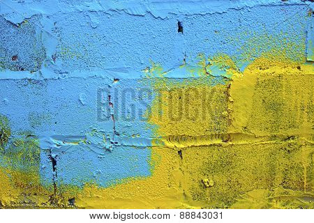 Blue-yellow Paint On A Wall