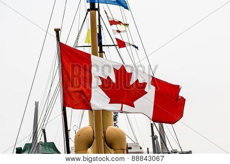 Canadian Flag On Old Ship