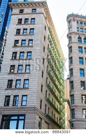 Green Iron Balconies On Old Boston Building