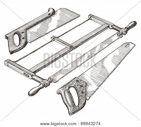 tools, saw, hacksaw on a white background. joinery. sketch