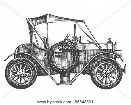sketch. vintage car on a white background