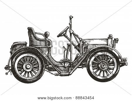 old car on a white background. sketch