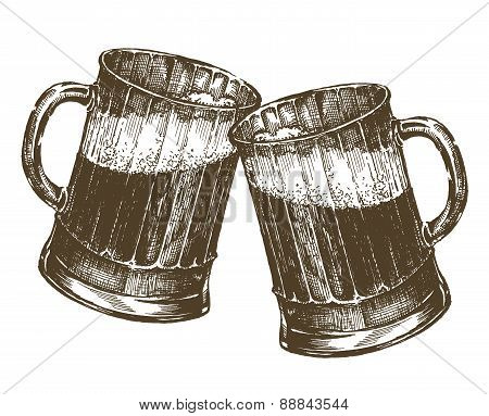 illustration. mug of beer on a white background. sketch