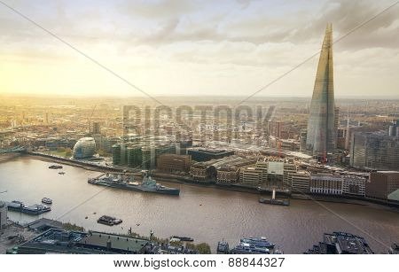 LONDON, UK - APRIL 22, 2015: City of London panorama includes Shard of glass on the River Thames