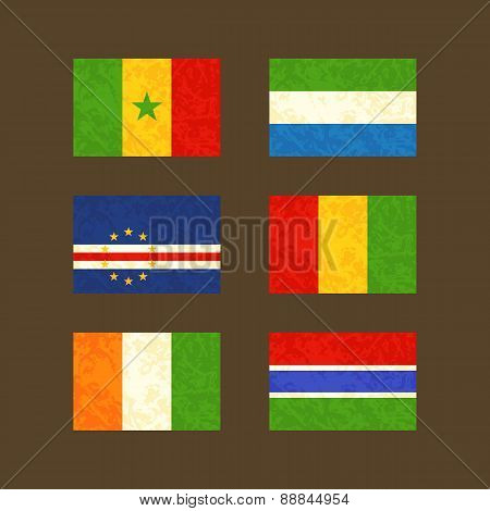Flags Of Senegal, Cape Verde, Ivory Coast, Sierra Leone, Guinea And Gambia