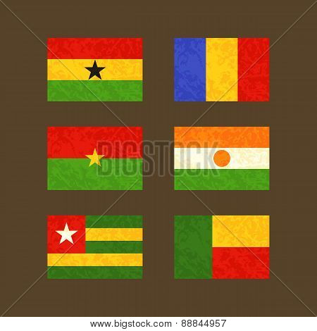 Flags Of Ghana, Chad, Burkina Faso, Niger, Togo And Benin