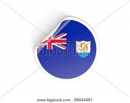 Round Sticker With Flag Of Anguilla