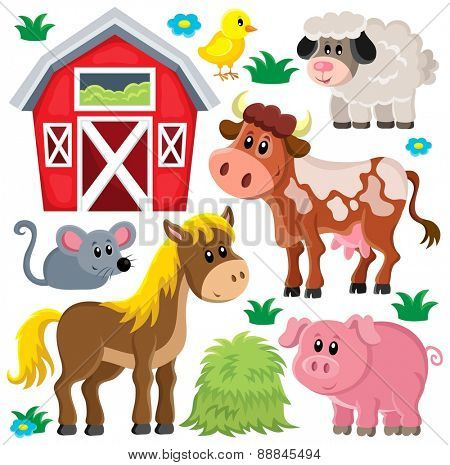 Farm animals set - eps10 vector illustration.