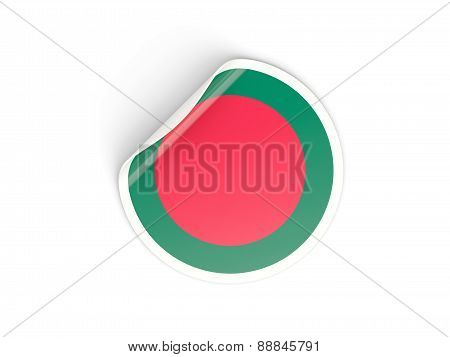 Round Sticker With Flag Of Bangladesh