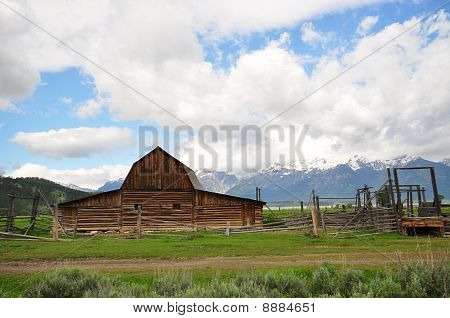Mormon Row Barn and Grand Teton National Park Wyoming