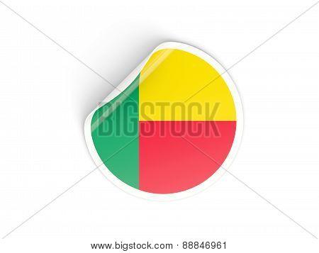 Round Sticker With Flag Of Benin