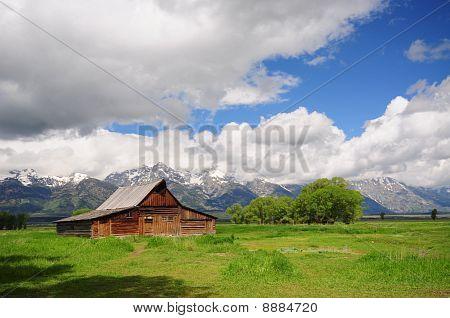Mormon Row Barn and Grand Teton National Park Wyoming