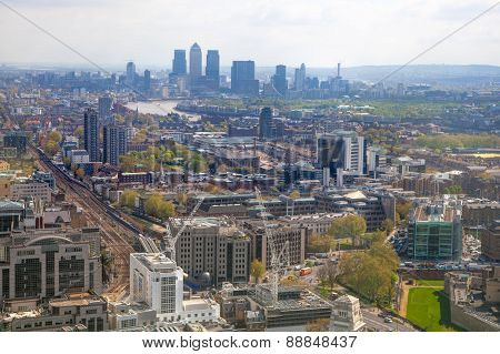 City of London panorama includes a Canary Wharf view, business and banking aria of London